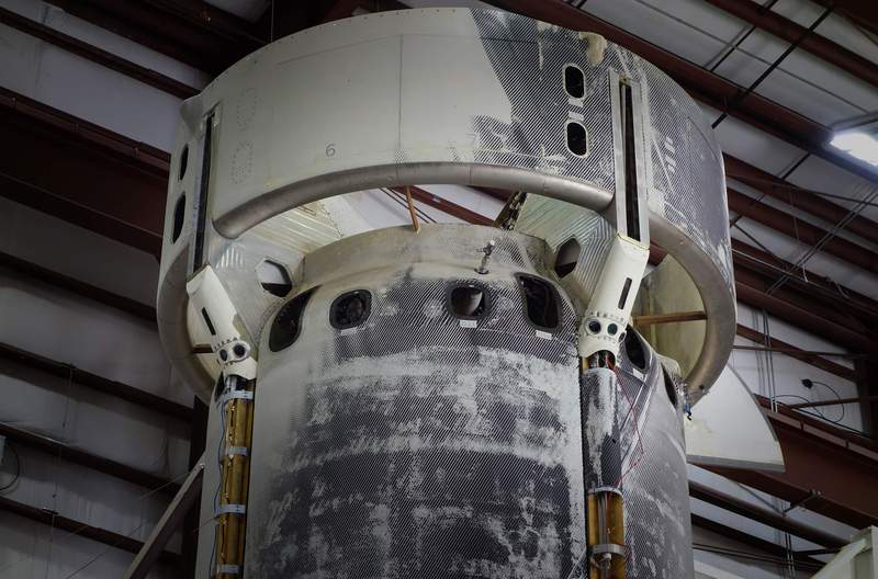 New Shepard booster undergoing integration and testing of the sensor experiment at Blue Origin's West Texas Launch Site. (Image: Blue Origin)