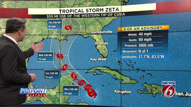 Pinpointing Tropical Storm Zeta