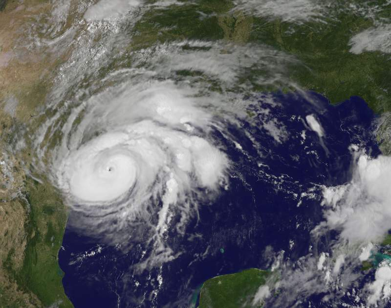 Hurricane Harvey imagery spinning off the Texas coast. (2017)