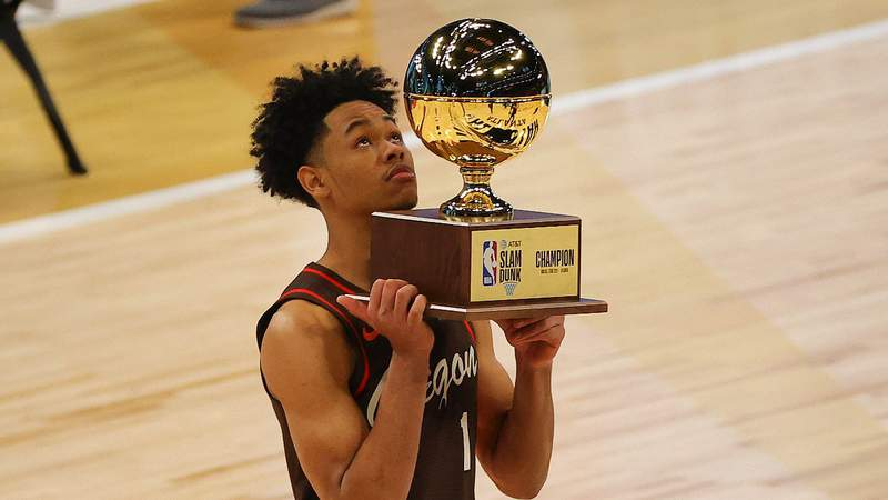Anfernee Simons of the Portland Trail Blazers celebrates after winning the 2021 NBA All-Star - AT&T Slam Dunk Contest. (Photo by Kevin C. Cox)