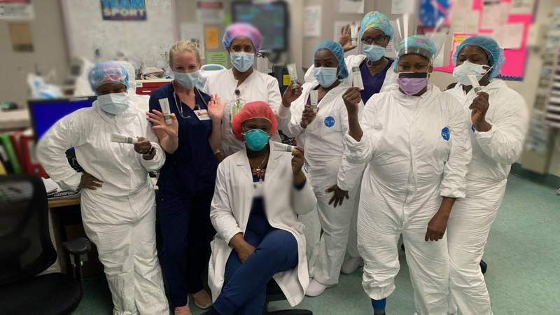 Frontline workers at the Kingsbrook Jewish Medical Center in Brooklyn, New York give thanks to MUDMASKY for donating facial skin products to them to help with dry skin caused by wearing masks for prolonged periods of time. Contributed photo.