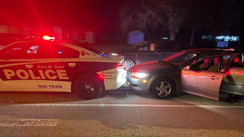 Palm Bay police say a drunk driver crashed into the back of a patrol car.