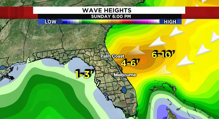 Wave heights will increase to 4-6 feet later Sunday. The surf will stay high through early next week. Strong rip currents will also be present.