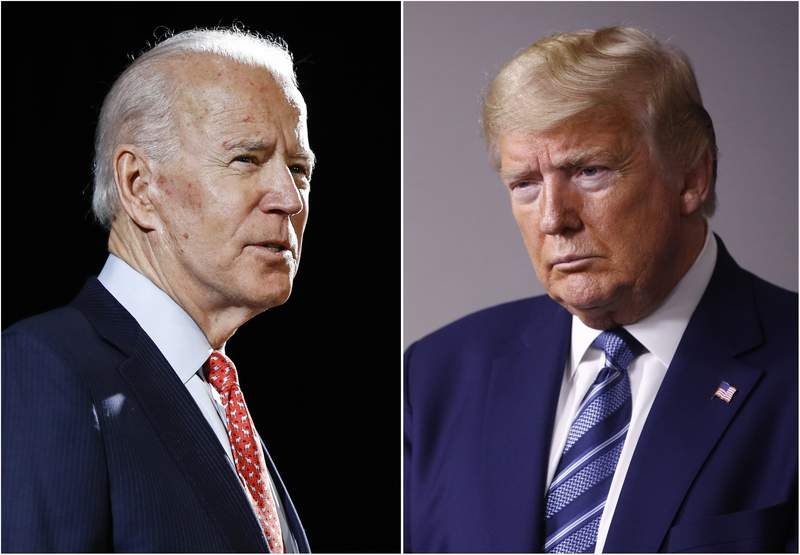 FILE - In this combination of file photos, former Vice President Joe Biden speaks in Wilmington, Del., on March 12, 2020, left, and President Donald Trump speaks at the White House in Washington on April 5, 2020. The University of Notre Dame has become the second university to withdraw as the host of one of this fall's three scheduled presidential debates amid the coronavirus pandemic. (AP Photo, File)