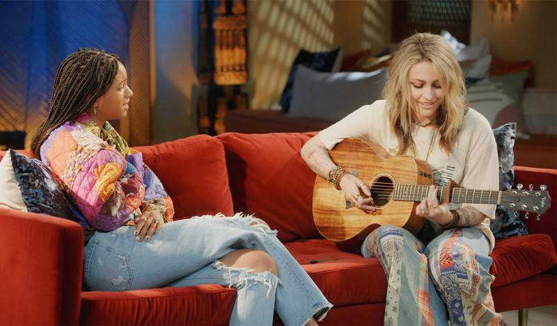 This image released by Red Table Talk shows host Willow Smith, left, and Paris Jackson, who will appear in an episode of the talk show series to discuss living under the media glare. The episode will be available on Wednesday, June 16, 2021, on Facebook Watch. (Red Table Talk via AP)