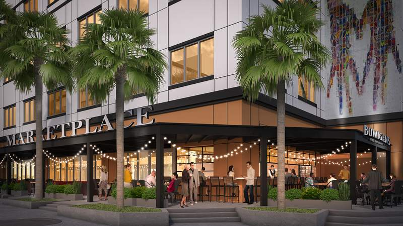 Rendering of the exterior of Marketplace at Avalon Park