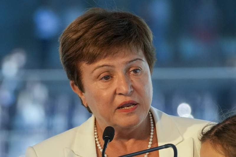 FIEL - In this Sept. 6, 2021, file photo, Kristalina Georgieva, managing director of the International Monetary Fund, delivers a speech during the opening ceremony for the Floating Office where a high-level dialogue on climate adaptation takes place in Rotterdam, Netherlands. The World Bank is canceling a prominent report on business conditions around the world after investigators found staff members were pressured by the banks leaders to alter data about China and some other governments. Georgieva said she disagreed with the findings. (AP Photo/Peter Dejong, File)