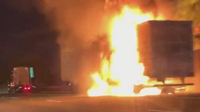 A tractor-trailer catches fire in the Florida Turnpike.