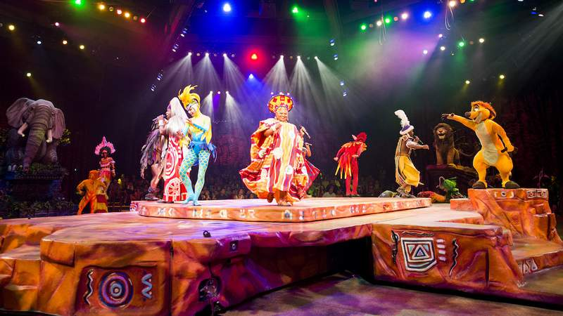 """Festival of the Lion King, the popular, high-energy live musical at Disney's Animal Kingdom combines music, puppetry and pageantry inspired by Disney's animated film classic, """"The Lion King."""" Performed inside the Harambe Theatre, this Broadway-style show is an exciting retelling of the film and immerses the audience in theatrics and classic songs. Disney's Animal Kingdom is located at Walt Disney World Resort in Lake Buena Vista, Fla."""