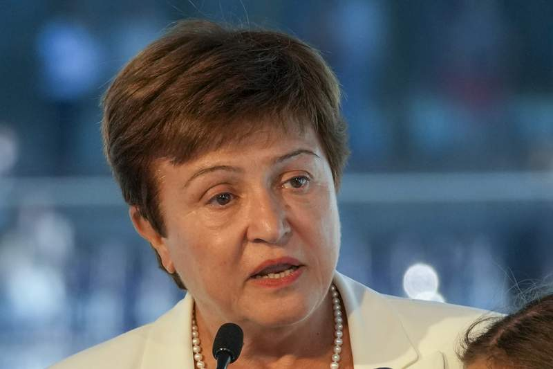 FIEL - In this Sept. 6, 2021, file photo, Kristalina Georgieva, managing director of the International Monetary Fund (IMF), delivers a speech during the opening ceremony for the Floating Office where a high-level dialogue on climate adaptation takes place in Rotterdam, Netherlands. The IMF has backed the managing director against allegations that World Bank staff were pressured to change business rankings for China in an effort to placate Beijing. The scandal had raised questions about whether Georgieva, who has denied any wrongdoing, would be asked to step down from her post. (AP Photo/Peter Dejong, File)