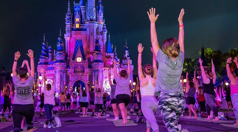 Disney cast members participate in International Yoga Day at Magic Kingdom June 21,2021