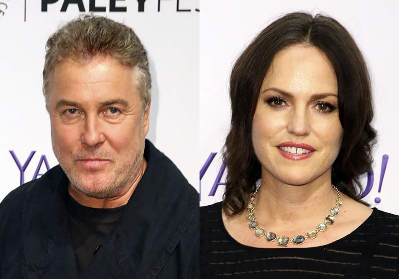 This Sept. 16, 2015 combination file photo shows William Petersen, left and Jorja Fox at the 2015 PaleyFest Fall TV Previews in Beverly Hills, Calif. The actors who first starred together on CSI: Crime Scene Investigation in the early aughts are back together for CSI: Vegas, premiering Oct. 6, 2021 on CBS. (Photos by Rich Fury/Invision/AP, File)