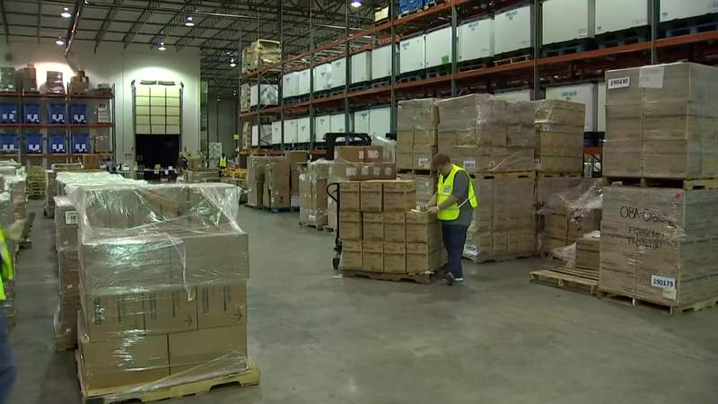 The state's logistics response center in Orlando is operating nonstop due to the coronavirus pandemic.