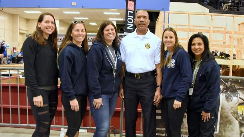From left to right - Eng. Tramell, Lt. Pollock, Chief McDonald, Chief Barksdale, Firefighter Hutcheson and Firefighter Camacho