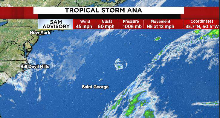 Ana has become fully tropical and is now a tropical storm.