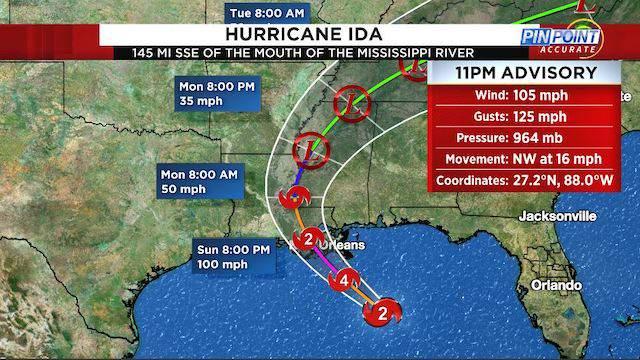 Hurricane Ida 11 p.m. advisory on Aug. 28, 2021.