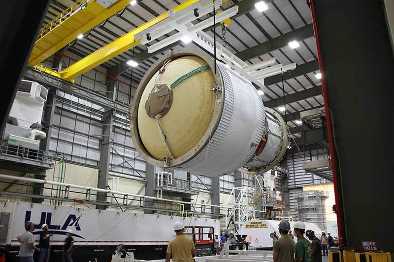The Interim Cryogenic Propulsion Stage for the second flight of NASA's Space Launch System (SLS) rocket arrived in Florida on July 28. (Image: ULA)