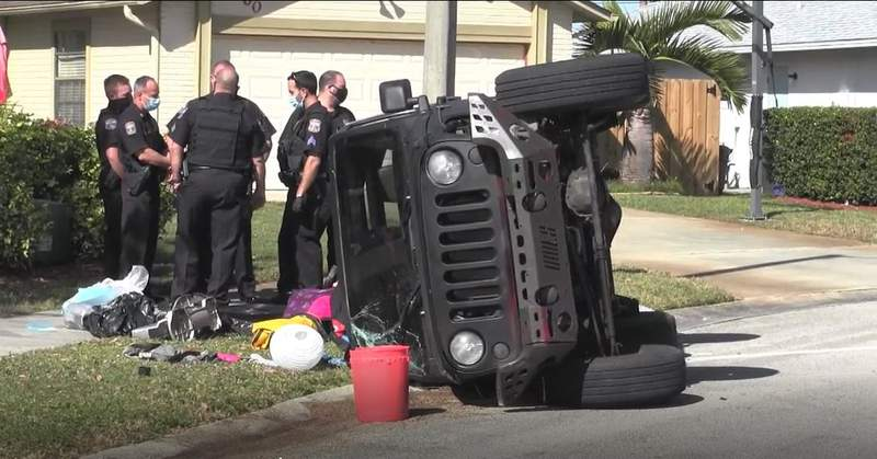 A man suspected of injuring a West Melbourne police officer flipped a Jeep while fleeing from authorities in Rockledge.