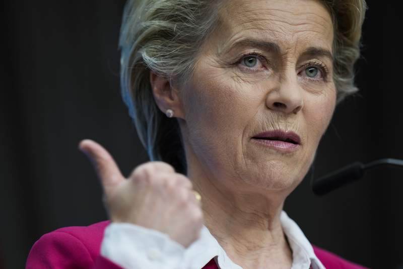 European Commission President Ursula von der Leyen speaks during a media conference at the end of an EU-Canada summit at the European Council building in Brussels, Tuesday, June 15, 2021. (AP Photo/Francisco Seco)