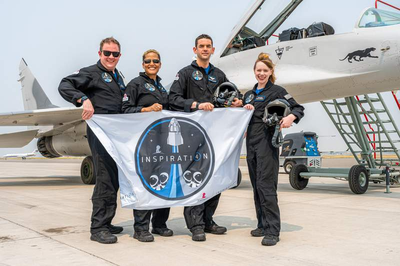 The Inspiration 4 astronauts after fighter jet training in Bozeman, Montana.