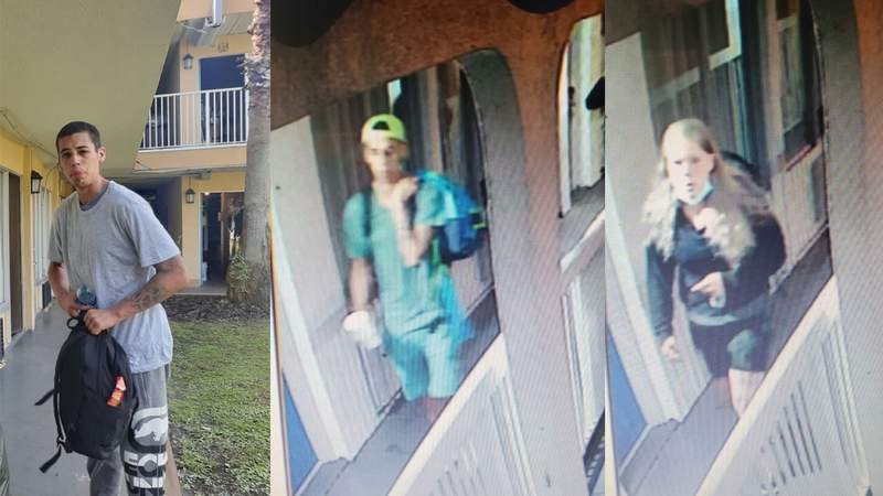 The two photos on the left show the man deputies say was shot during an attempted break in at a Motel 6 in Daytona Beach. The woman on the right is also sought.