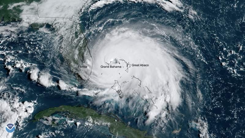Cat 5 Hurricane Dorian moving over Bahamas Sept 2019.