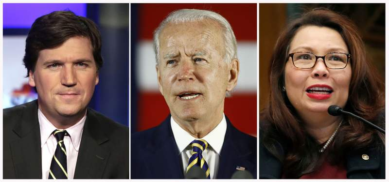 """In this combination photo, Tucker Carlson, from left, host of """"Tucker Carlson Tonight,"""" poses for photos on March 2, 2017, in New York, democratic presidential candidate, former Vice President Joe Biden speaks on June 17, 2020, in Darby, Pa. and Sen. Tammy Duckworth, D-Ill., speaks to Goldman Sachs 10,000 Small Businesses Summit, Feb. 14, 2018, on Capitol Hill in Washington. Carlson is drawing heat for a sharp commentary that said Democrats should be disqualified from running the country because they despise it. The Biden campaign accused Carlson of using """"hate speech masquerading as journalism."""" Carlson had a particularly bitter exchange with Duckworth, who he called """"silly and unimpressive."""" (AP Photo)"""
