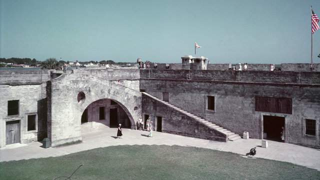 An exterior view of the Castillo de San Marcos National Monument, masonry fort completed in 1695, and St. Augustine Harbor (Hulton Archive/Getty Images).