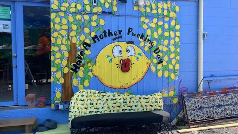 Sign outside of Mother Pucker's café on Merritt Island