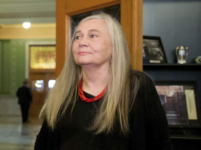 FILE - In this Sept. 14, 2015, file photo, Pulitzer Prize-winning writer Marilynne Robinson visits the State Library of Iowa in the Ola Babcock Miller Building in Des Moines, Iowa.  Oprah Winfrey announced Tuesday that she has selected Robinsons acclaimed quartet of Gilead narratives for her next book club selection. Robinson won the Pulitzer Prize in 2005 for Gilead, the first of her books set in the fictional Iowa town of Gilead. (AP Photo/Andrew Harnik, File)
