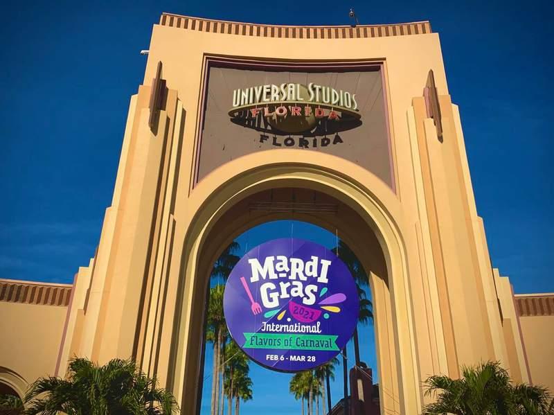Mardi Gras sign at Universal Orlando Jan 4, 2021