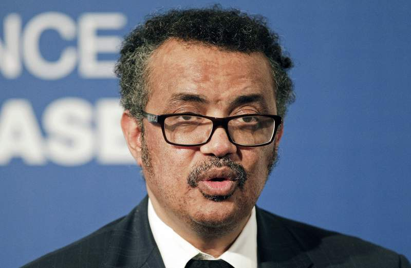 """FILE - In this file photo dated Wednesday, Oct. 18, 2017, World Health Organization President Tedros Adhanom speaks to the press during the World Health Organization conference on noncommunicable diseases in Montevideo, Uruguay. At a meeting of WHOs member states, Monday Nov. 9, 2020, WHO director-general Tedros Adhanom Ghebreyesus said he welcomed any and all attempts to strengthen the organization...for the sake of the people we serve."""" as WHO faces calls for an independent review on its handling of the global COVID-19 pandemic. (AP Photo/Matilde Campodonico, FILE)"""