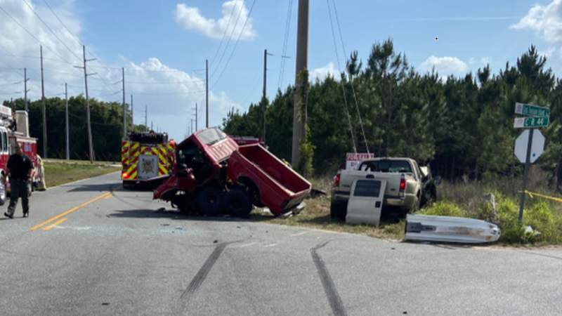 A man was killed in a crash involving two pickup trucks in Lake County on Friday, according to the Florida Highway Patrol.