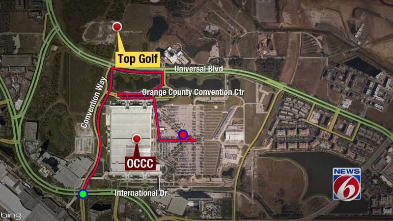 The route to the Orange County Convention Center COVID-19 vaccine site.
