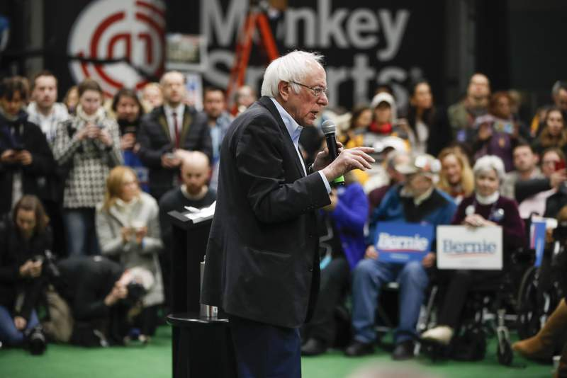 Democratic presidential candidate Sen. Bernie Sanders, I-Vt., speaks, Monday, Feb. 10, 2020, at a campaign event in Manchester, N.H. (AP Photo/Pablo Martinez Monsivais)