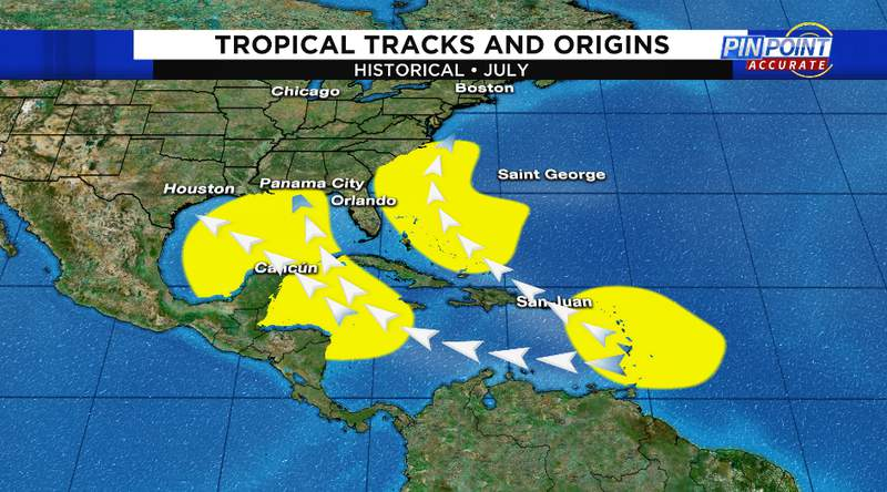 The yellow shaded areas are where tropical development typically occurs in the month of July.