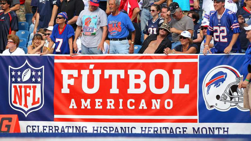 A sign marks Hispanic Heritage Month during the New England Patriots NFL game against the Buffalo Bills at Ralph Wilson Stadium on September 25, 2011 in Orchard Park, New York. Photo by Tom Szczerbowski