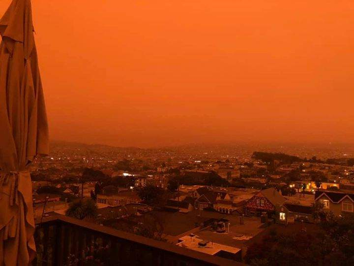 The San Francisco sky has turned red as nearby wildfires burn out-of-control.