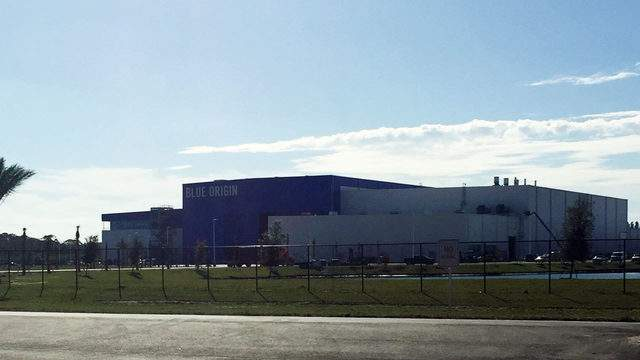 Blue Origin's rocket factory just outside the gates of Kennedy Space Center. (Image: Emilee Speck/WKMG)