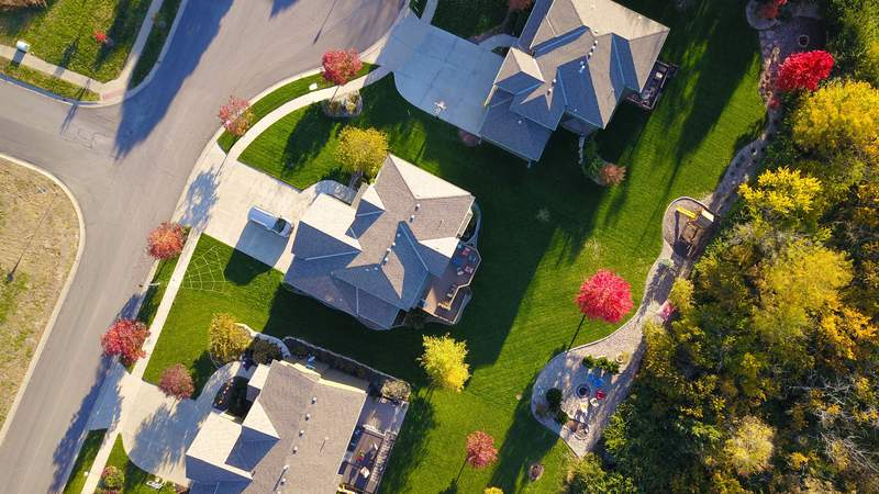 An aerial view of homes.
