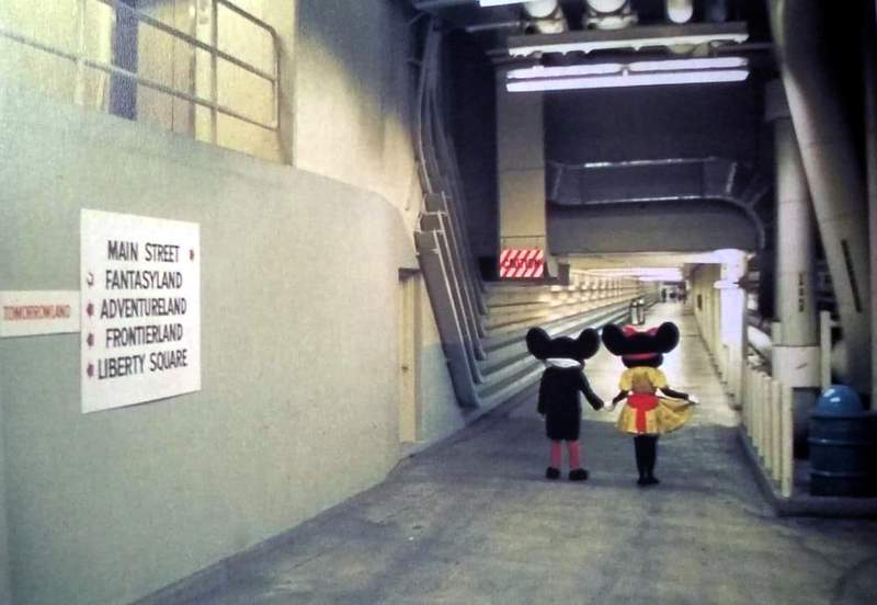 Even Mickey and Minnie use the Utilidors to get around underneath The Magic Kingdom -- as seen in this photo from late 1971 or early 1972