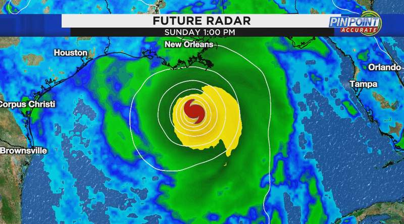 Estimated position and intensity of storm in Gulf of Mexico Sunday