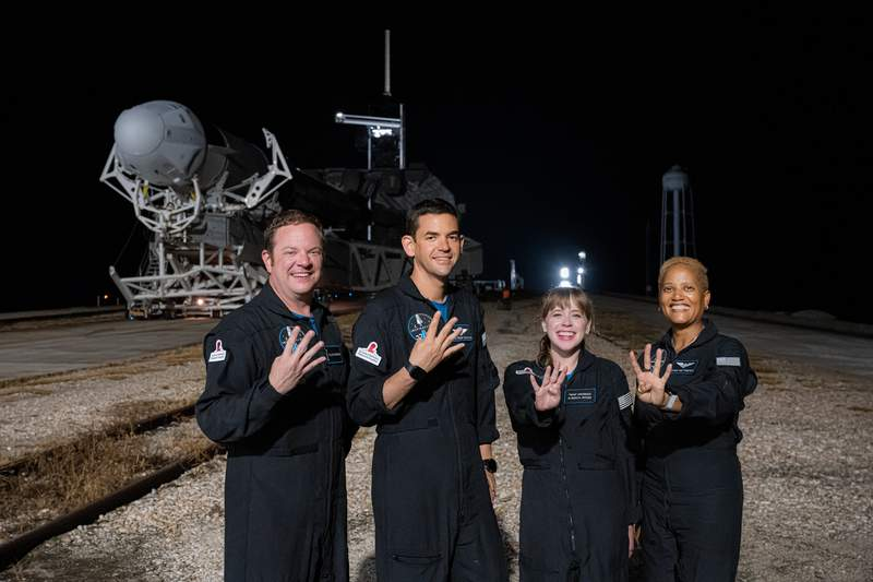 The Inspiration4 crew at Kennedy Space Center during the Falcon 9 rollout to the launchpad.