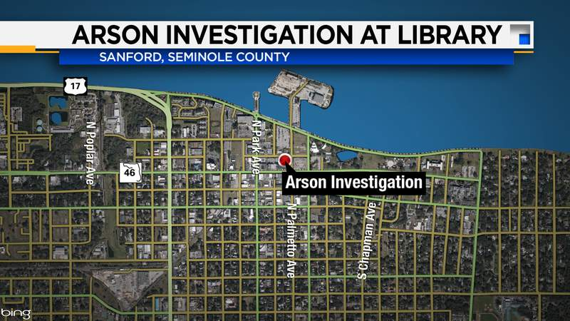 Arson is suspected in a bathroom fire at the North Branch Library in Sanford, according to Seminole County officials.