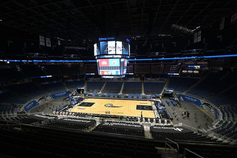 The court is viewed before an NBA basketball game between the Orlando Magic and the Los Angeles Clippers, Friday, Jan. 29, 2021, in Orlando, Fla. (AP Photo/Phelan M. Ebenhack)