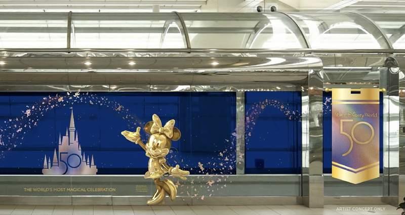 Disney to bring 50th anniversary celebration decor to Orlando International Airport