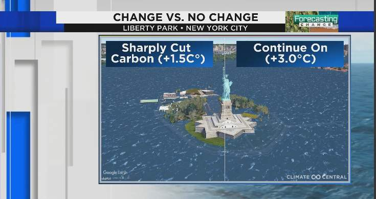 Change vs. no change at Liberty Park in New York City.