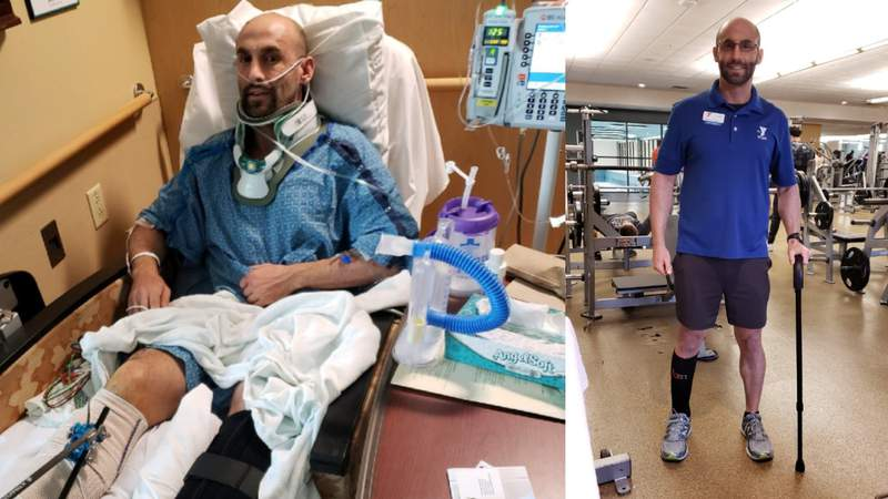 Sean Davis has returned to his job as a personal trainer at the YMCA after a devastating car crash.