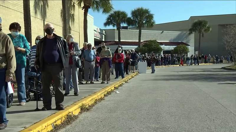 Jacksonville seniors stand in line for hours waiting for vaccine at Regency Mall