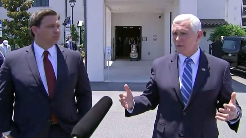 Gov. Ron DeSantis and Vice President Mike Pence answer question after visiting an Orando are adult-living facility.